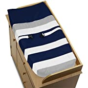 Sweet Jojo Designs Baby Changing Pad Cover for Navy and Gray Stripe Collection