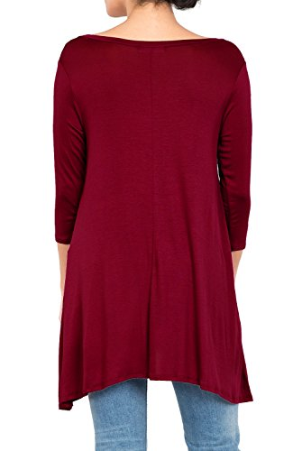 Love In T2411 3/4 Sleeve Round Neck Relaxed A-Line Tunic T Shirt Top Burgundy S by Love In (Image #7)