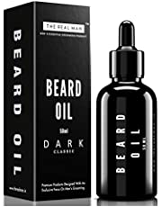 THE REAL MAN Beard & Mustache Oil Dark Classic Range. Men's Mustache & Beard Oil,100% Natural & Organic, Conditioner & Softener for Men,50ml(1.69oz).