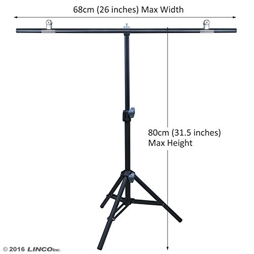Linco Lincostore Photography PVC Backdrop Background Small Support Stand System Metal 8812B 68cm Wide 80cm High by Linco