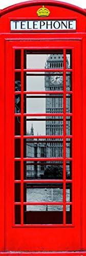 1art1 Londres Poster de Porte Cabine T/él/éphonique Rouge avec Big Ben Et Tamise Collage Et Kit De Fixation Transparent 158x53 cm