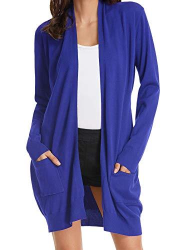GRACE KARIN Long Sleeve Open Front Casual Knit Cardigan Sweaters Draped Kimono Blue XL