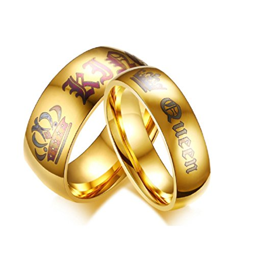(Blowin Newest His Queen Ring Womens Stainless Steel Anniversary Rings Couples Gifts, Golden (Her Size)