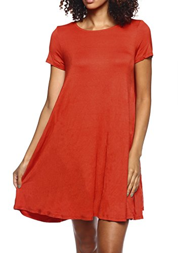 Stretchy Flowy Loose Fit Casual Work Cocktail Beach Lounge Evening Tunic Dresses Regular and Plus Size Rust S