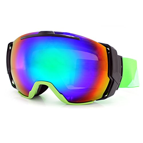 OTG Ski Goggles-Over The Glasses Design Oversize Mirror Wide Viewing Degree Anti-Fog Green-Grey Color PC Lens 100% 400UV Protection Windproof Unisex Snowboard Goggles For Snowmobile/Skate (Grey Green Mirror)