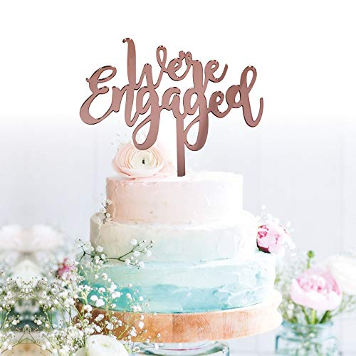 GrantParty We're Engaged Rose Gold Cake Topper- Engagement