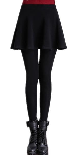 dc8aaf6b2a MULLSAN Women Winter Super Warm Velvet Stretchy Skirt Leggings (Black)