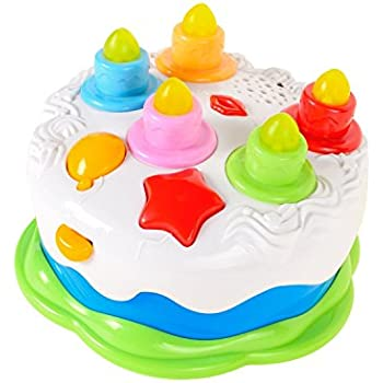 Mallya Kids Birthday Cake Toy For Baby Toddlers With Counting Candles Music Gift Toys 1 2 3 4 5 Years Old Boys And Girls
