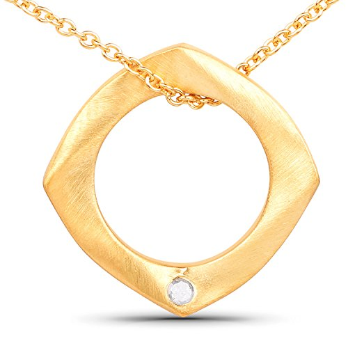 LoveHuang 0.03 Carats Genuine White Diamond (I-J, I2-I3) Circle Of Life Pendant Solid .925 Sterling Silver With 18KT Yellow Gold Plating, 18Inch ()