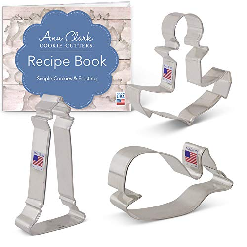Nautical Cookie Cutter Set with Recipe Booklet - 3 piece - Cute Whale, Anchor and Lighthouse - Ann Clark - USA Made Steel