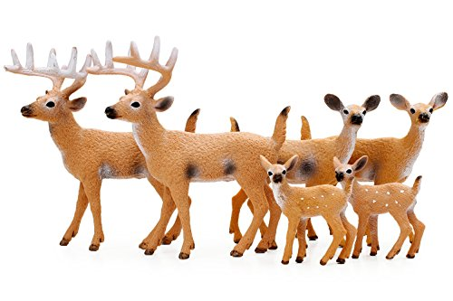 RESTCLOUD Deer Figurines Cake Toppers, Deer Toys Figure, Small Woodland Animals Set of 6 ()