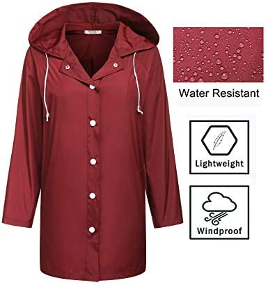 SoTeer Womens Waterproof Raincoat Hooded Long Rain Coat Lightweight Breathable Rain Jackets