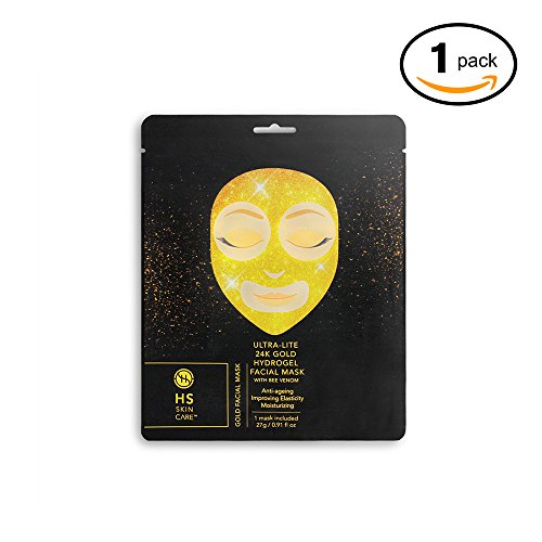 Price comparison product image HS Skincare Single-Pack 24K Gold Ultra-Lite Facial Care with Bee Venom: Hydrogel Face Mask - Paraben-Free, Paraben-Free, Sulfate-Free Fragrance-Free