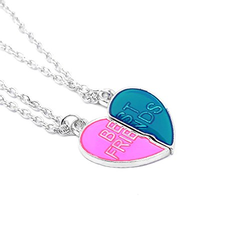BFF Best Friends Necklaces for 2 Friendship Gifts Enamel Pink Blue Heart Charms Best Friend