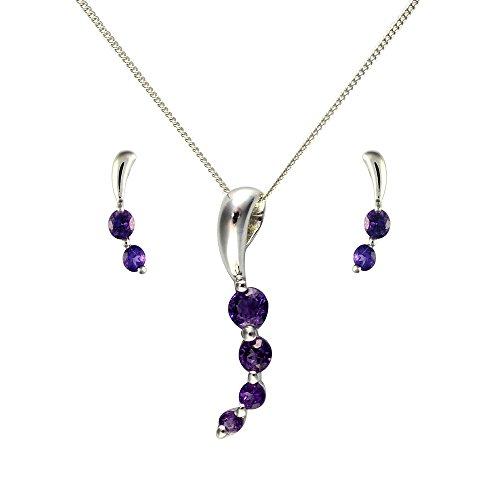 Parure collier et boucles d'oreilles - 135P1079 - 4 - Femme - Or Blanc 375/1000 (9 Cts) 1.272 Gr - Améthyste