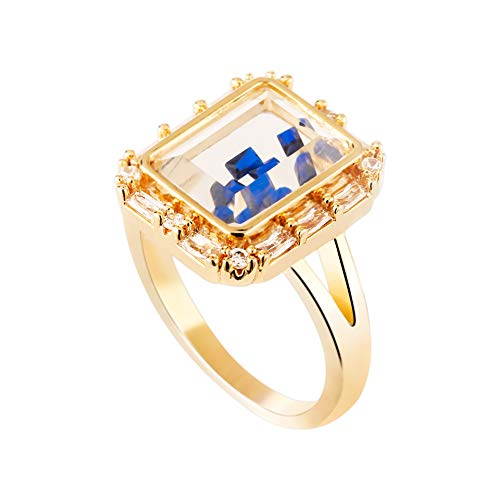 (SENTERIA Rings for Women Gold Princess Cut Cubic Zirconia 14K White Gold Plated Brass Cocktail Ring for Teen Girls Mens Bling Ring Jewelry Gifts Packing)