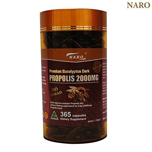 Naro Bee Propolis Extract 2000mg Premium Eucalyptus Dark 365 Capsules Australian Made by Naro