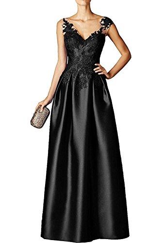 Applikation Damen Marie Schwarz Jugendweihe La Satin mit Abendkleider Braut Kleid Ballkleider Partykleider Spitze A6nqPnR