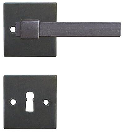 Cerradura Haeusler-Shop Antiguo rectangular negro hierro forjado tügriff para puertas de habitaciones – Modelo