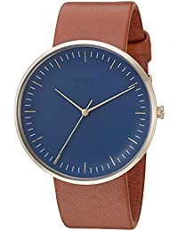 Men's 'The Essentialist' Quartz Stainless Steel and Leather Casual Watch, Color:Brown (Model: FS5473)