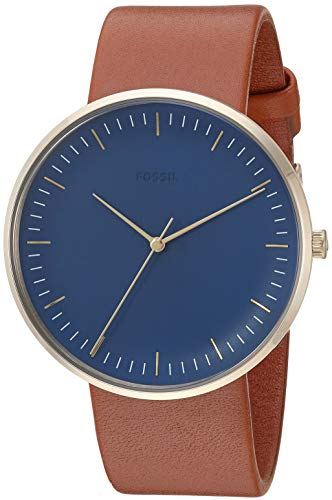 Fossil Men's The The Essentialist Stainless Steel Quartz Leather Strap, Brown, 22 Casual Watch (Model: FS5473 - Fossil Mens Strap Brown