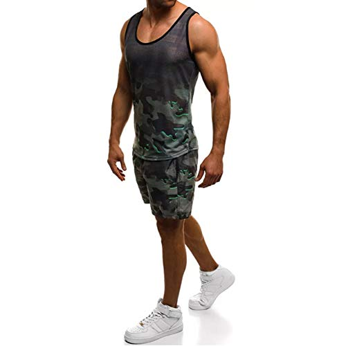 Muscle Man Outfit (HaoDong Men's Tank Top Pants Sets - Fashion Camouflage Printed Summer Sports)