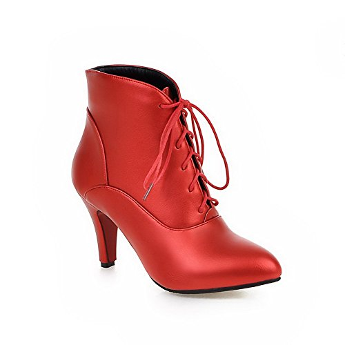 Red Heels Lace Boots Top Women's up Allhqfashion Low Solid High PwpzExnC