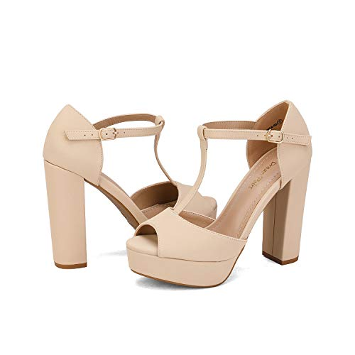 DREAM PAIRS Women's Ankle Strap High Chunky Heel Sandals Dress Pump