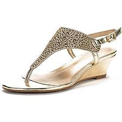 DREAM PAIRS ADITI New Women Fashion Wear Summer Rhinestone Thong Design Low Wedge Sandals GOLD SIZE 8.5