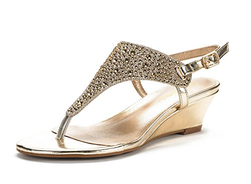 (DREAM PAIRS Women's Aditi-New Gold Low Wedge Dress Sandals - 8.5 M)