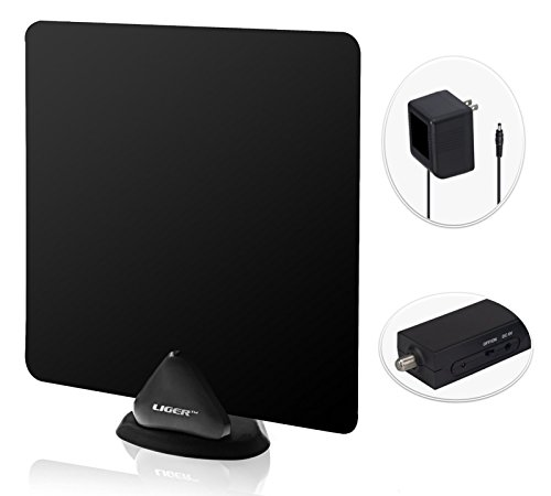 HDTV Antenna and Amplifier, Liger 50 Mile Range Ultra-Thin Indoor Antenna with 10ft Coaxial cable Plus Antenna Amplifier, Antenna Booster - Receive HD Television Signals for Free - Includes Stand