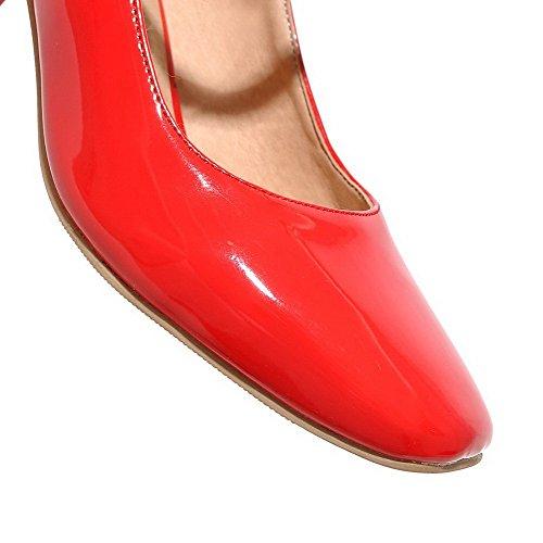 Unie Velcro Verni Couleur Femme Chaussures Aalardom Légeres À Rouge Talon Correct Xn6aq