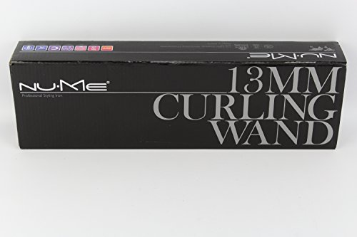 NuMe Professional Tourmaline Infused Hair Styling Curling Wand 13mm, Black