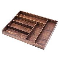 Bamber Wood Kitchen - Organizador de cubiertos de plata, organizador de cajones para utensilios, cubiertos Cultery Tray, nogal negro, 15.9 x 12.5 x 1.5 pulgadas