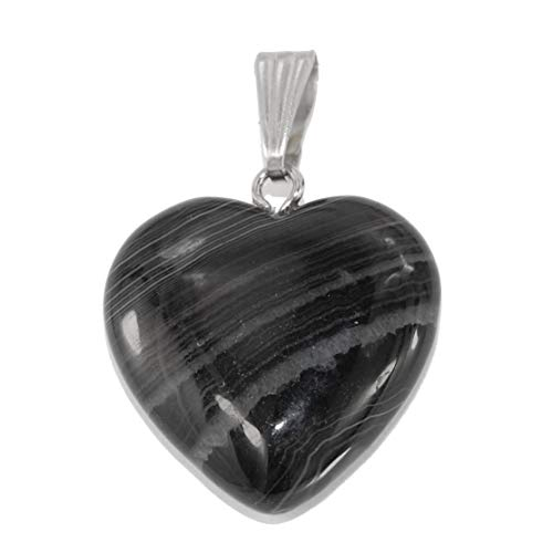 Steampunkers USA Unchained Big Heart Collection - 20mm Classic Onyx Agate Black White Stripe - Pendant Only - Natural Gemstone Tribal Ethnic Carved Necklace - Stainless Steel Bail Black Agate Heart Pendant