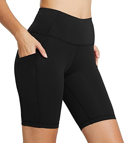 Firm Abs Women S High Waist Yoga Gym Long Compression Shorts With Pocket Black M