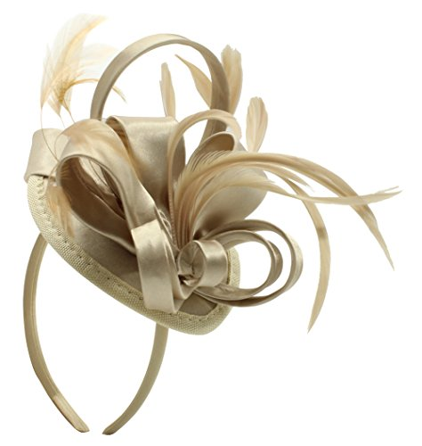 Felizhouse Fascinator Hats For Women Feather Cocktail Party Hats Bridal Kentucky Derby Headband (Light Khaki, One Size) (Light Feather Womens Hat)
