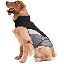 SILD Pet Clothes Dog Winter Warm Jacket Dog Cold Weather Coat Dog Autumn Windproof Night Reflective Fleece Vest (L, Black)