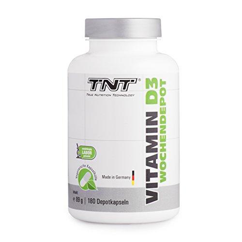 TNT Vitamin D3 Kapseln aus Deutschland | Hochdosiertes Vitamin D 3 Präparat (Cholecalciferol) - Nahrungsergänzungsmittel zur Stärkung Ihres Immunsystems | Hochwertiger Vitamin-Komplex - 180 Depotkapseln