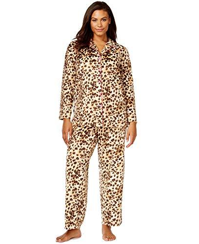 Charter Club 2-Piece Leopard Print Fleece Pajama Sleepwear Set (XXX-Large, ()