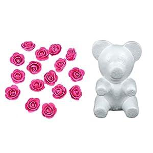 Yalulu 35CM Bear-Shaped Modeling White 3D Polystyrene Foam Bear + 600 Pcs Mini Foam Rose Flower for DIY Rose Bear (Rose Red) 49