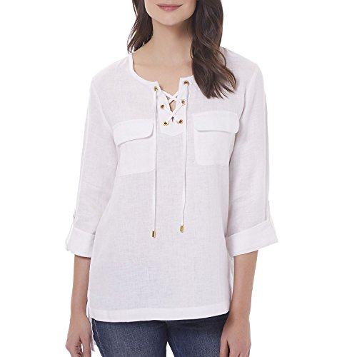 Ellen Tracy Womans Blouse, Chalk XXL (Tracy Rockets)