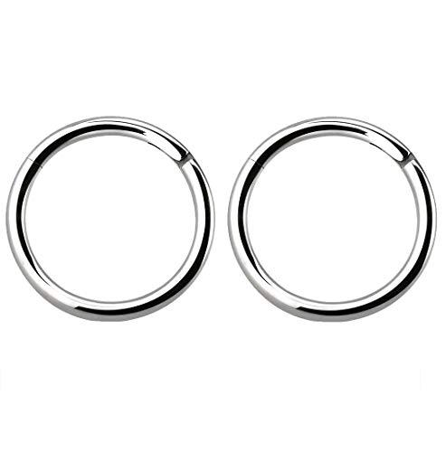 Pierced Owl 14GA Solid G23 Titanium Hinged Segment Rings, Sold as a Pair (12mm (1/2