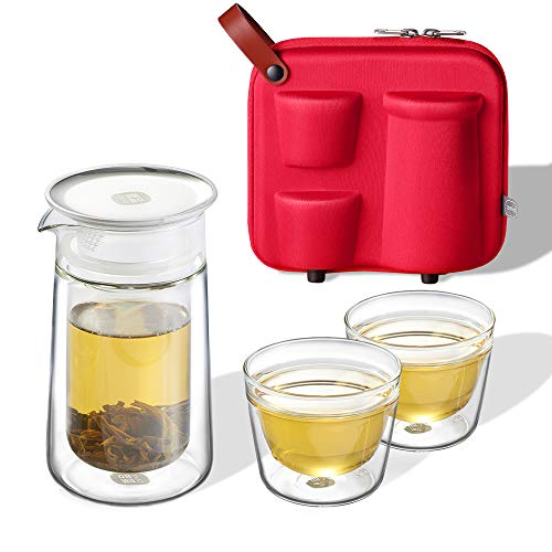 (ZENS Travel Tea Set Glass, Portable Teapot Set with Built in Strainer for Loose Tea, Double Wall Tea Pot Infuser with 2 Cups and Eva Case for Outdoor Picnic (Red))