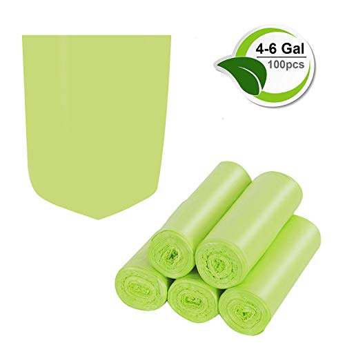 4 Large Bags - Trash Bags Biodegradable,4-6 Gallon Trash bags Recycling & Degradable Small Garbage Bags Compostable Bags Strong Rubbish Bags Wastebasket Liners Bags for Kitchen Bathroom Office Car(100 Counts,Green)