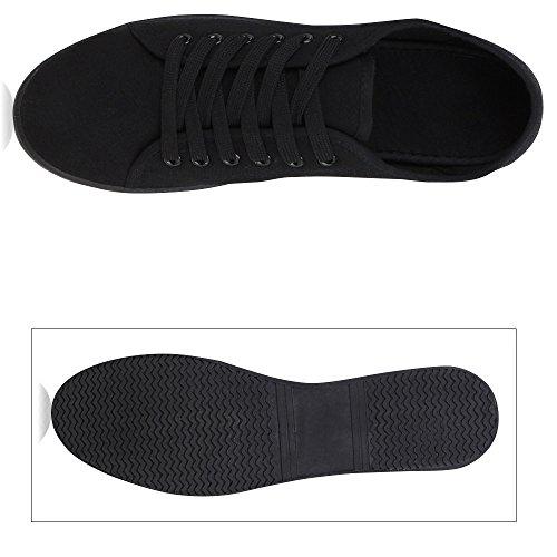 Stiefelparadies Damen Sneaker Low mit Plateau Metallic Zipper Flandell Schwarz Grau