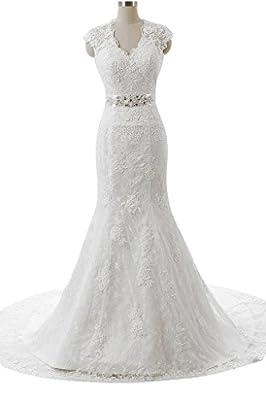 Snowskite Women's Sexy V-neck Mermaid Lace Bride Wedding Dress Bridal Gowns