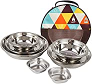 Stainless Steel Plate Bowl Portable Camping Round Picnic Dinner Dishes Accessories 22PCS Picnic for Outdoors