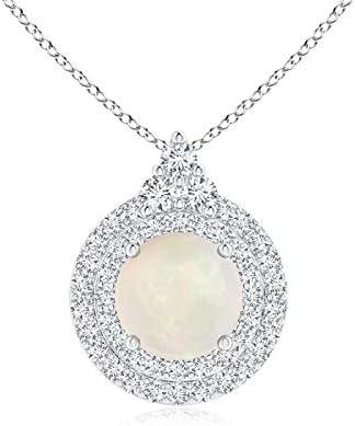 Collar con colgante de halo doble de ópalo y diamante redondo, para mujer, piedra natal de octubre
