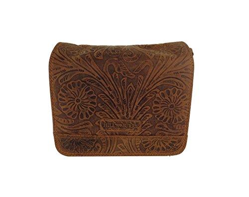 Hill Burry Tasche,Vintage, Damen, Leder Handtasche,viele Fächer geprägt, 3201F braun
